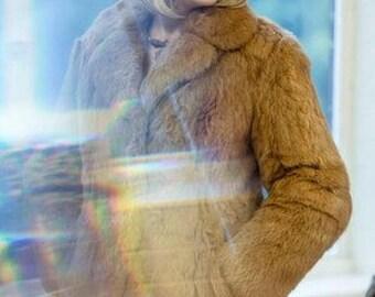 Vintage real comey fur coat - Size 12