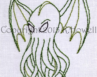 Cthulhu Hand Embroidery Pattern, Monster, Evil, PDF