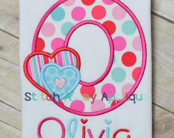 Valentine Hearts Alpha Machine Applique Design