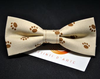 Brown Handmade bow tie for men with small paws
