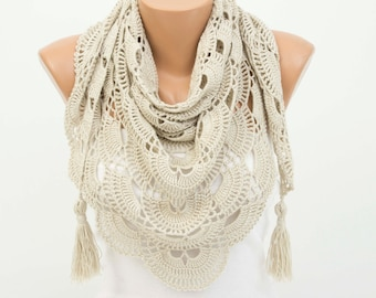 Triangle crochet  scarf shawl  beige