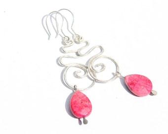 Hot Pink Spiral Dangle Earrings