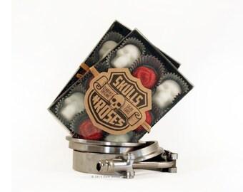 Skulls-N-Roses Sugar Cubes - 1 Box Red or Purple Roses Skulls Sugar Skull Gothic Gift