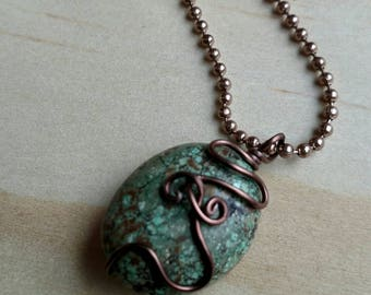 Turquoise Necklace - Brown Necklace - Wire Wrapped Necklace