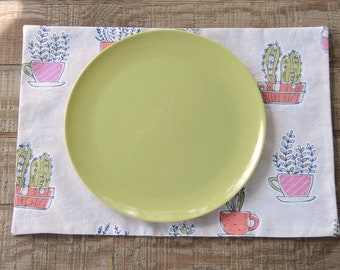 Potted Plants Lined Placemats, Set of 4, Custom Order Fun and Funky Herb Pots Novelty Table Linens Home Decor