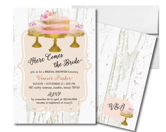 Bridal Shower Wedding Invitation // Wedding Cake  // Brunch and Rehearsal Dinner Invitation // Pink and Gold // PRINTABLE