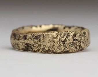 Gnarly 9ct Gold Sandcast Ring, Granite Texture, Recycled Gold, 7mm Rock Style Ring, Elemental Jewellery, Manly Ring, Oxidised Solid Gold