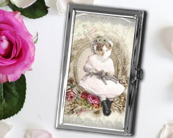 Dressed Kitten Business Card Case, Cat Card Case, Kitty Sewing Needle Case, Magnetic Needle Storage, Gift for Cat Lovers