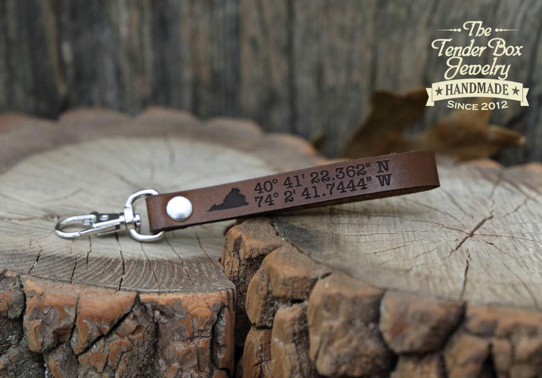 State leather longitude latitude engraved Key ring key chain