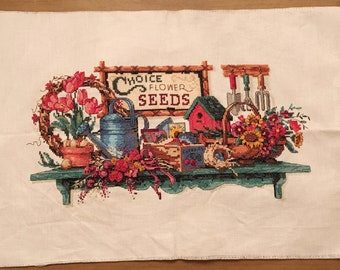 Vintage completed cross stitch - country shelf - flower seeds - garden