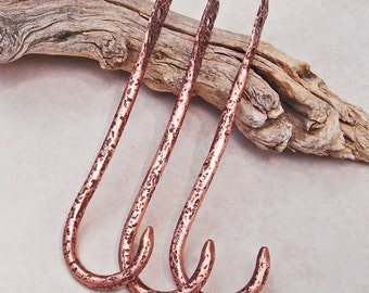"""Copper Wall Hooks Stone Textured Handmade """"A"""" Set of Three Small"""