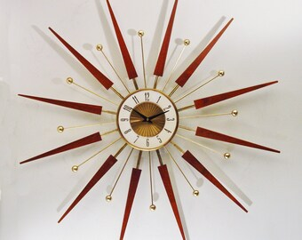 Mid Century Modern Starburst Wall Clock by Elgin, Mid Century Sunburst Hanging Wall Clock 1960s,  Atomic Era Clock