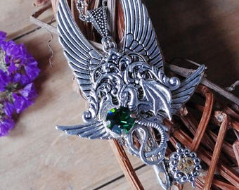 Key Dragon key Winged key steampunk key steampunk jewelry skeleton key fantasy necklace key necklace key jewelry dragon dragon pendant gift