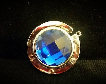After Life Accessories Handmade Purse Hanger Silver and Royal Blue Rhinestone