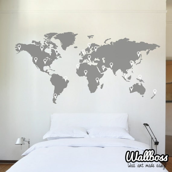 150cm world map decal wall sticker stencil bedroom globe gumiabroncs Choice Image