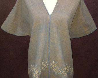 Handmade Embroidered Blue and Brown Womens Tunic