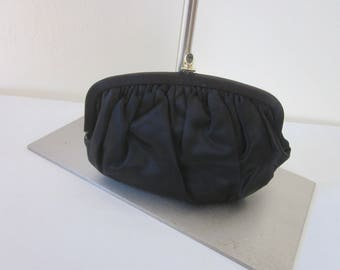 1950s Black Silk Satin Evening Bag