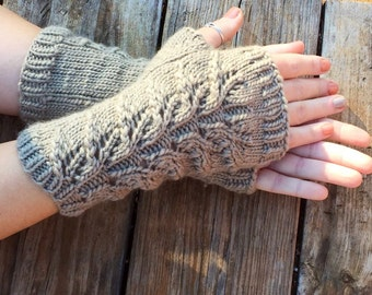 fingerless gloves with lace panel, Herb Garden Mitts, lace  fingerless gloves, wool, long gloves, mitts, arm warmers