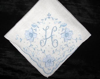 Monogram hanky wedding, Bridal Handkerchief Blue, Bridal Handkerchief, Initial Handkerchief Letter Hankie Hanky Hankerchief