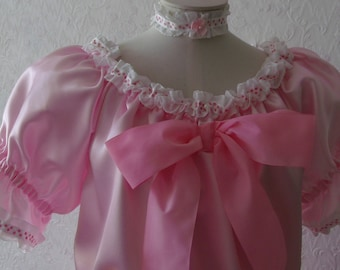 Satin Pink Ribbon Sissy Dress Unisex (Up to XXL)