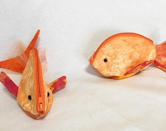 Zippy Zoo Fancy Orange Fish Zipper Pouches, Gift card holder, Knitting/Crochet, Pouch, Ear Bud Pouch, Coin Purse