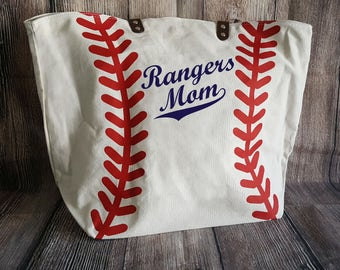 Rangers Mom Personalized Baseball Mom Tote Bags Navy Blue Sparkle Glitter on White Baseball Bag Custom Spirit Wear