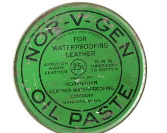 Green Antique Tin of Nor-V-Gen Leather Waterproofing Oil Paste