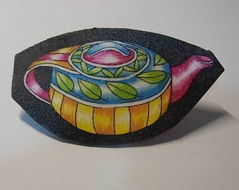 Teapot brooch, yellows and pink