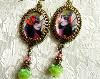 Autumn Gypsy Earrings - Lampwork Rose Version