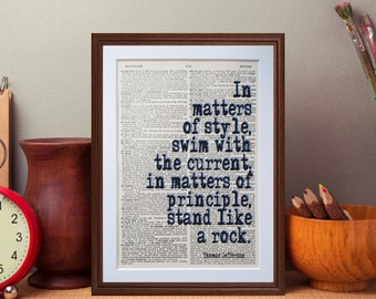 Thomas Jefferson quote - dictionary page literary art print home decor present gift books music