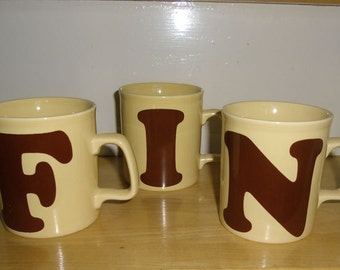 Vintage Mugs - Letter Mugs, Kiln Craft, Kilncraft, Made in England, Typography Fonts, Letters  I or N, Office Mugs