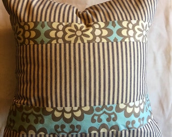 Patchwork Pillow Cover, French Blue Ticking, Pillow Sham, Cushion Covers, Decorative Pillows, Shabby Chic Decor, Throw Pillow Covers