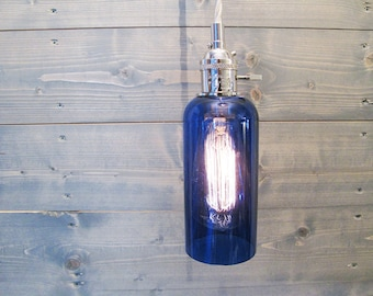 Large Blue Wine Bottle Pendant Light - Upcycled Industrial Glass Ceiling Light