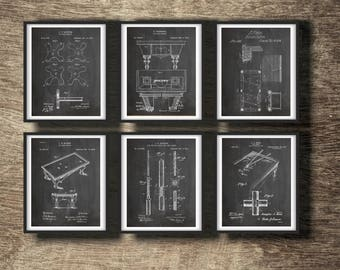 Billiards Patent Print Set of 6 Posters   Gift for Pool Player   Billiard Wall Decor   Billiards Gift   Billiards Printable INSTANT DOWNLOAD