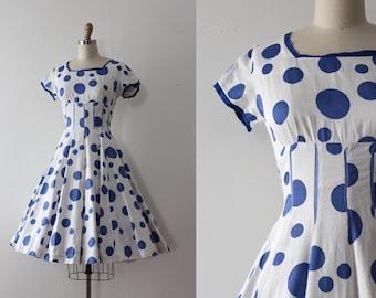 CLEARANCE vintage 1950s Vicky Vaughn dress // 50s blue polka dot cotton dress