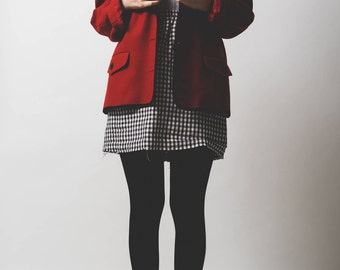 SALE HALF PRICE Jaeger red wool blazer // contrasting black trim and buttons // 1980's // boxy // oversized // large