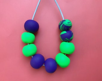 Clay necklace, neon statement necklace, purple necklace, beaded necklace, green necklace, chunky necklace, vegan jewelry, quirky necklace