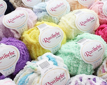 Ronibebe Very Warm and Soft Yarn, 100% Polyester, 44 Colors, 2.82oz(80g)