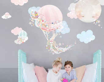 Hot Air Balloon Fabric Decal Wall Stickers - Pretty, floral, girls bedroom wall sticker