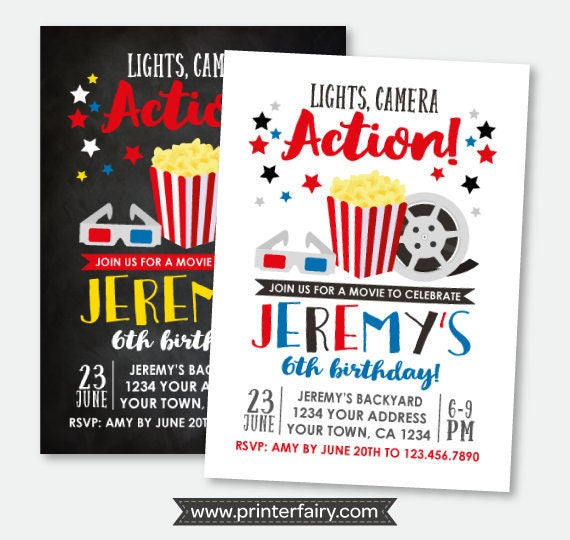 Movie invitation movie night birthday invitation sleepover movie invitation movie night birthday invitation sleepover invitation backyard party personalized printable invitation 2 options filmwisefo