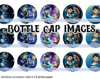 """Miles from tomorrowland - 1"""" circles, bottle cap images, circle collage"""