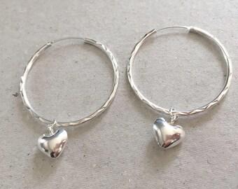 Sterling Silver Large Hoop Earrings, Heart Charm Hoop Earrings, Circle Hoop Earrings, Interchangeable Earrings, Modern Statement Earrings