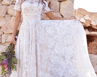 Full Circle Sweep Skirt Sheer Floral Lace Sweetheart WEDDING Maxi Dress Gown Saldana Vintage Elopement with Train