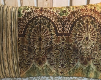 Unique Decorator Throw Pillow Cover - handcrafted - Go FOR BAROQUE I - 12x18inches Elegant in Chades of Green w metallic gold details