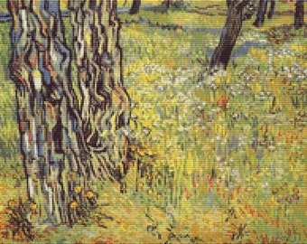 Vincent van Gogh Cross Stitch Chart, Baumstamme Tree Trunks Cross Stitch Pattern PDF, Landscape Cross Stitch