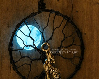 Glow in the Dark Howling Wolf Full Moon Tree of Life Pendant Black Wire Wrapped Glowing Blue Moon Werewolf Therian Otherkin Twilight