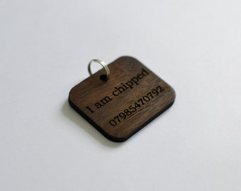 Personalised Wooden Pet Tag - Dog Tag - Engraved Dog Tag - Dog Tags For Dogs - Pet ID Tag - I Am Chipped - Rectangle Shape - Water Resistant