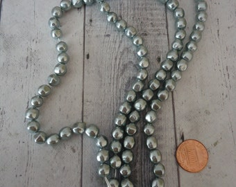 Silver Baroque Acrylic Pearl Beads, 6mm, Long Strand of 100 Beads
