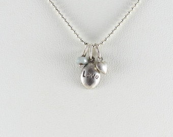 Sterling Silver Love Charm Necklace 18 inch chain