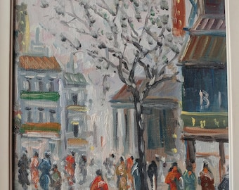 Original Oil on Canvas Impressionist Winter Street Scene by Rodini